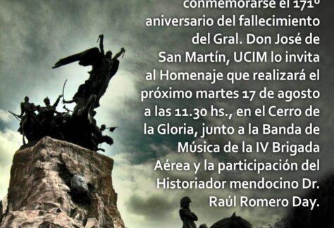 UCIM hará un homenaje a San Martin en el Cerro de la Gloria